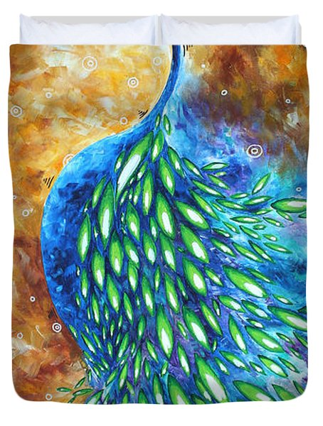 Peacock Abstract Bird Original Painting In Bloom By Madart Duvet Cover by Megan Duncanson