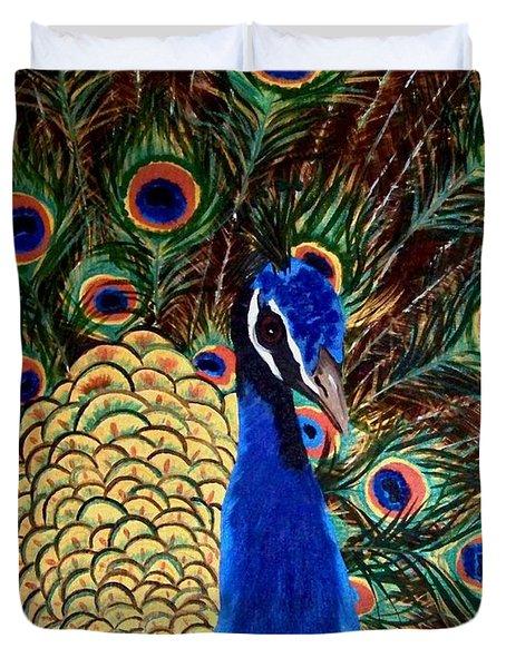 Peacock Duvet Cover by Debbie LaFrance