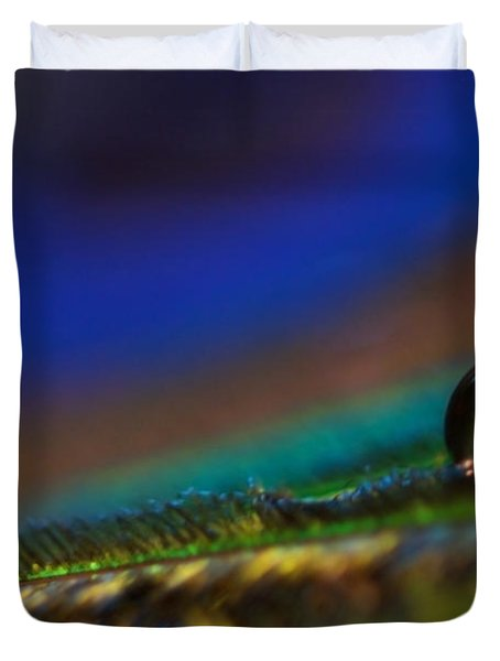 Peacock Drop Duvet Cover by Lisa Knechtel