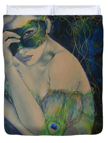 Peacock Enigma Duvet Cover by Dorina  Costras