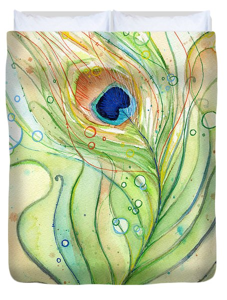 Peacock Feather Watercolor Duvet Cover by Olga Shvartsur