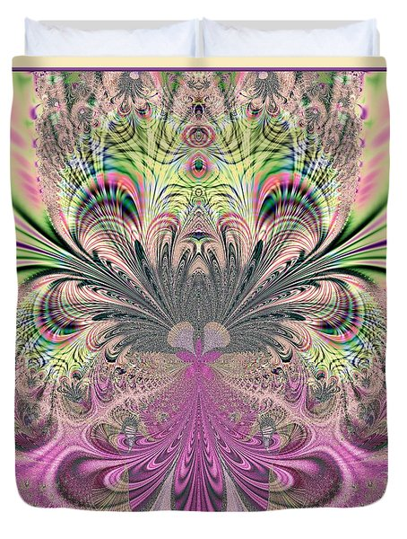 Peacock Feathers Bouquet Fractal 157 Duvet Cover by Rose Santuci-Sofranko