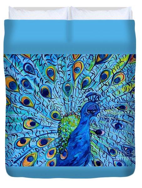 Peacock On Blue Duvet Cover by Eloise Schneider