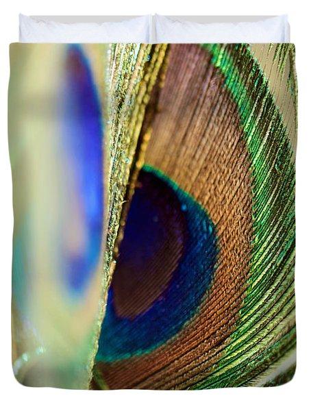 Peacocks Dance The Samba Duvet Cover by Lisa Knechtel