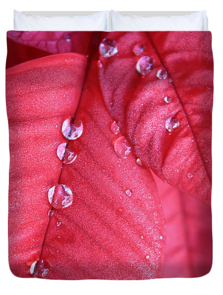 Pearls On Poinsettia Duvet Cover by Carol Groenen