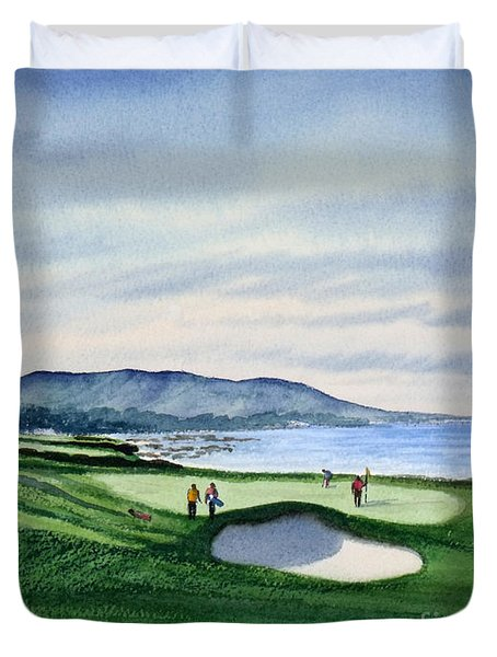 Pebble Beach Golf Course Duvet Cover by Bill Holkham