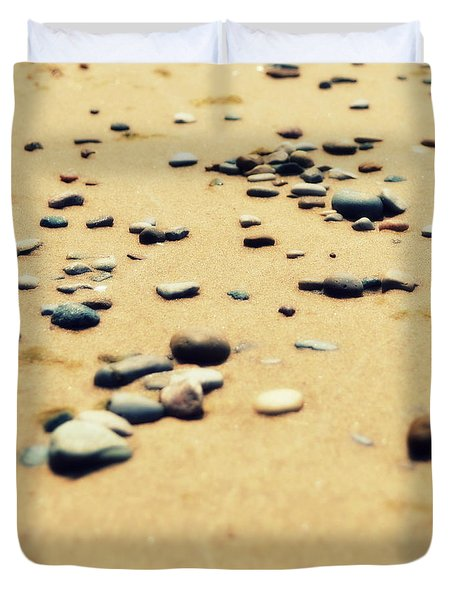 Pebbles On The Beach Duvet Cover by Michelle Calkins