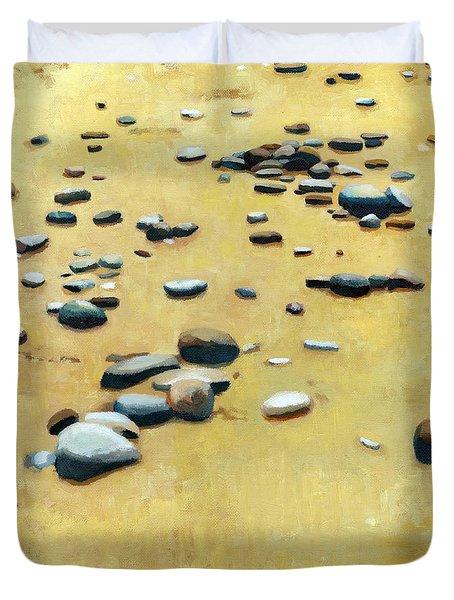 Pebbles on the Beach - Oil Duvet Cover by Michelle Calkins