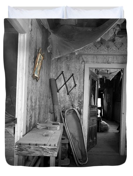 Peeking In The Old Mortuary Duvet Cover by Cheryl Young