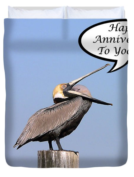 Pelican Anniversary Card Duvet Cover by Al Powell Photography USA