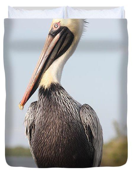 Pelican Pose Duvet Cover by Carol Groenen