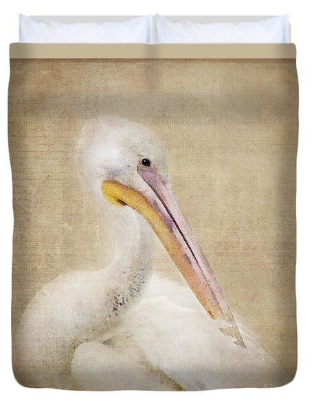 Pelican Primping Duvet Cover by Betty LaRue