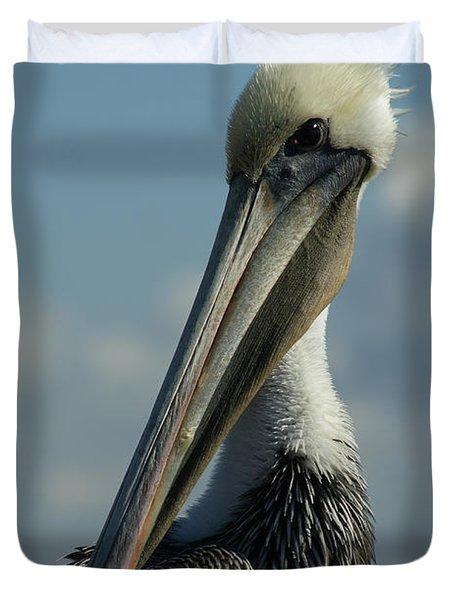 Pelican Profile Duvet Cover by Ernie Echols
