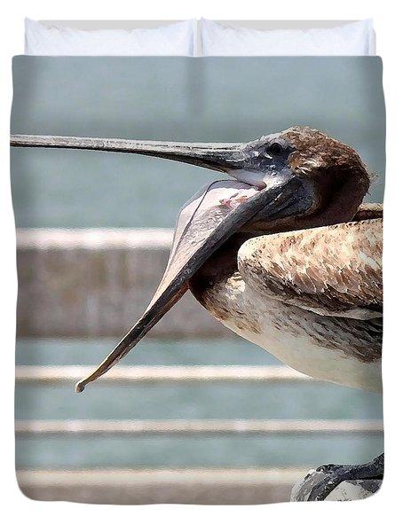 Pelican Yawn - Digital Painting Duvet Cover by Carol Groenen