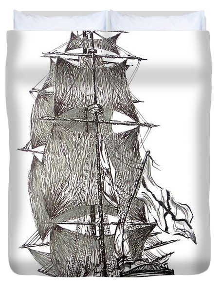 Pen And Ink Drawing Of Sail Ship In Black And White Duvet Cover by Mario Perez