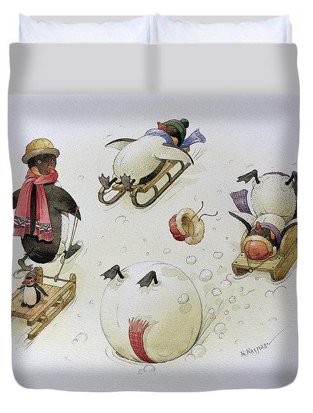 Penguins Sledging Duvet Cover by Kestutis Kasparavicius
