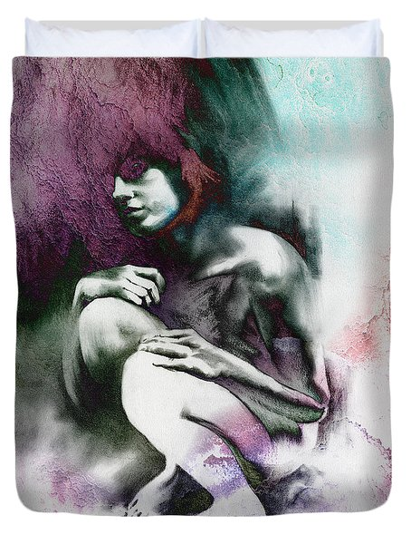 Pensive with Texture Duvet Cover by Paul Davenport