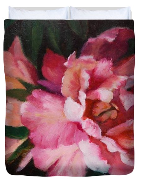 Peonies No 8 The Painting Duvet Cover by Marlene Book