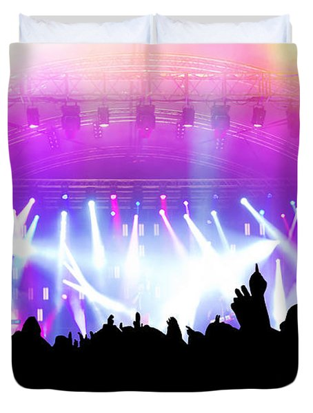 People On Music Concert Disco Party Duvet Cover by Michal Bednarek