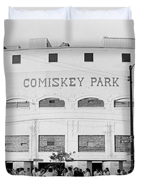 People Outside A Baseball Park, Old Duvet Cover by Panoramic Images