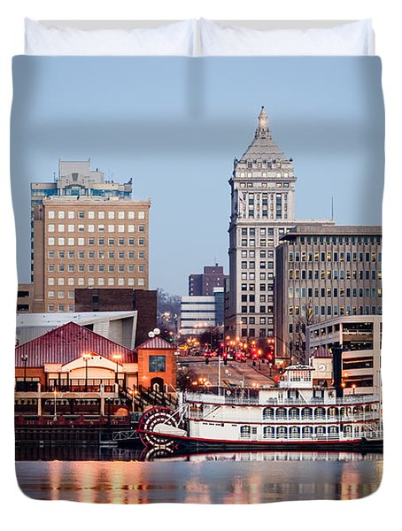 Peoria Illinois Skyline Duvet Cover by Paul Velgos