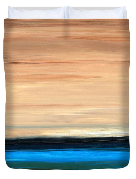 Perfect Calm - Abstract Earth Tone Landscape Blue Duvet Cover by Sharon Cummings