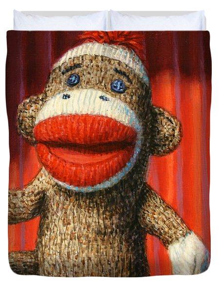 Performing Sock Monkey Duvet Cover by James W Johnson