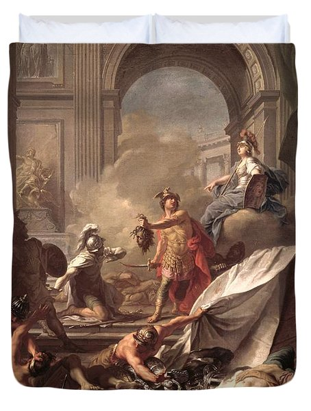 Perseus, Under The Protection Of Minerva, Turns Phineus To Stone By Brandishing The Head Of Medusa Duvet Cover by Jean-Marc Nattier
