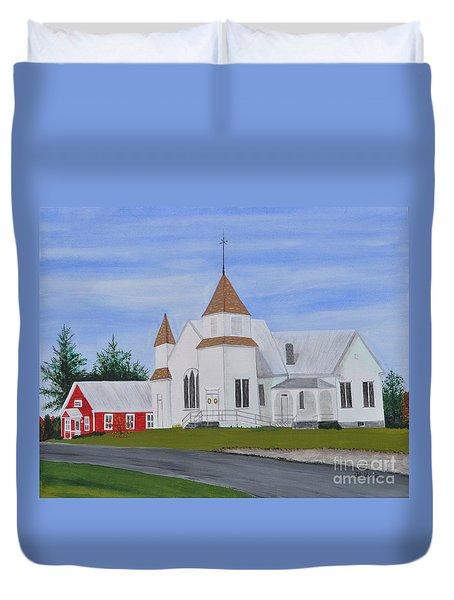 Peru Congregational Church Duvet Cover by Sally Rice