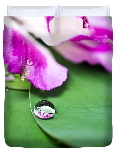 Peruvian Lily Raindrop Duvet Cover by Priya Ghose