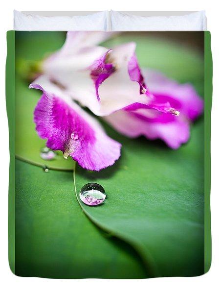 Peruvian Lily Raindrop Duvet Cover by Priya Ghose