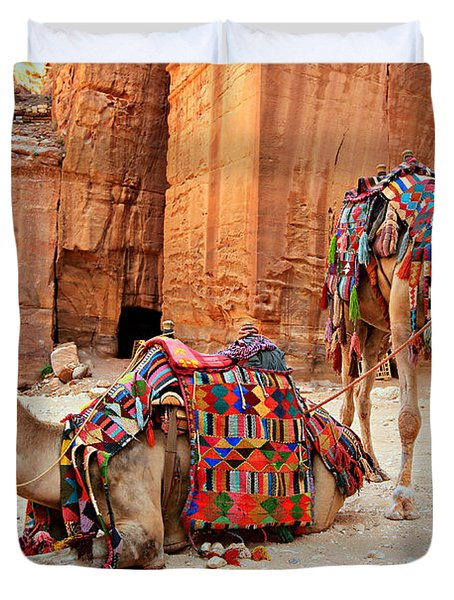 Petra Camels Duvet Cover by Stephen Stookey