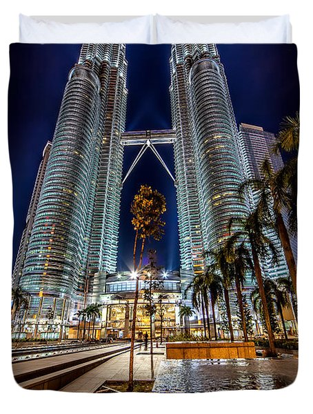Petronas Twin Towers Duvet Cover by Adrian Evans