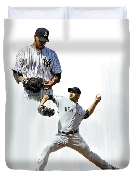 Pettitte  Andy Pettitte Duvet Cover by Iconic Images Art Gallery David Pucciarelli