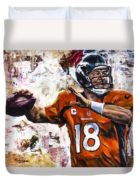 Peyton Manning Duvet Cover by Mark Courage