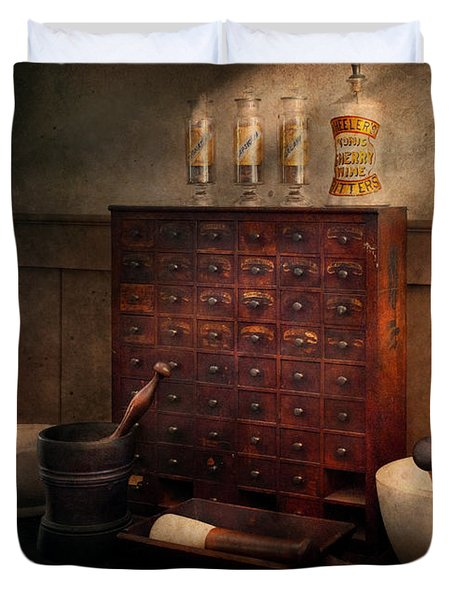 Pharmacist - Organizing Powder Duvet Cover by Mike Savad