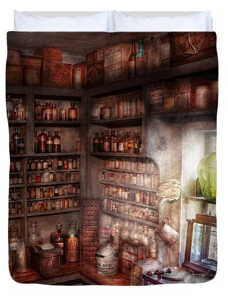 Pharmacy - Equipment - Merlin's Study Duvet Cover by Mike Savad