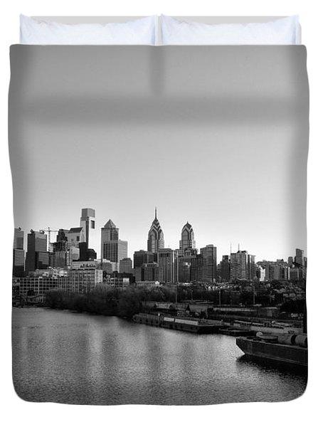 Philadelphia Black and White Duvet Cover by Bill Cannon