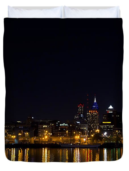 Philadelphia - Bright Lights Big City Duvet Cover by Bill Cannon