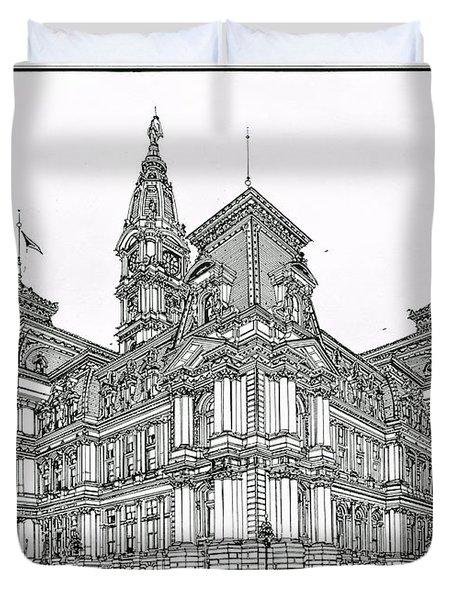 Philadelphia City Hall 1911 Duvet Cover by Ira Shander