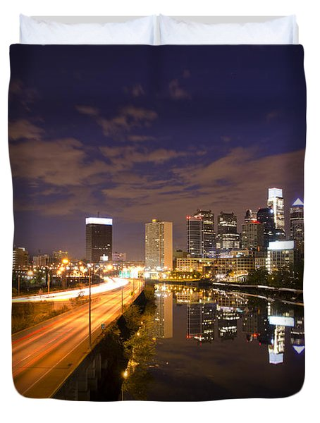 Philadelphia Cityscape from South Street at Night Duvet Cover by Bill Cannon