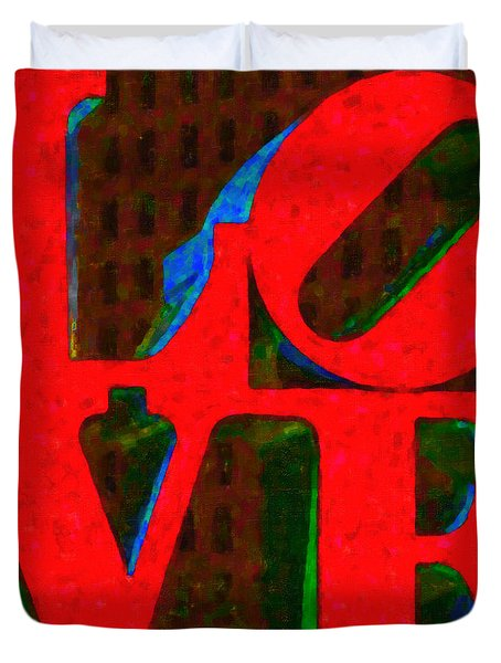 Philadelphia LOVE - Painterly v1 Duvet Cover by Wingsdomain Art and Photography