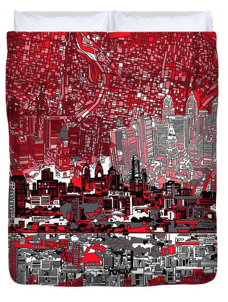Philadelphia Skyline Abstract 4 Duvet Cover by Bekim Art