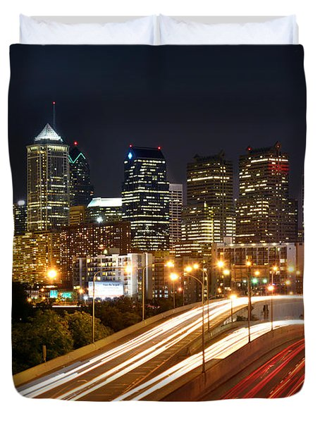 Philadelphia Skyline At Night In Color Car Light Trails Duvet Cover by Jon Holiday