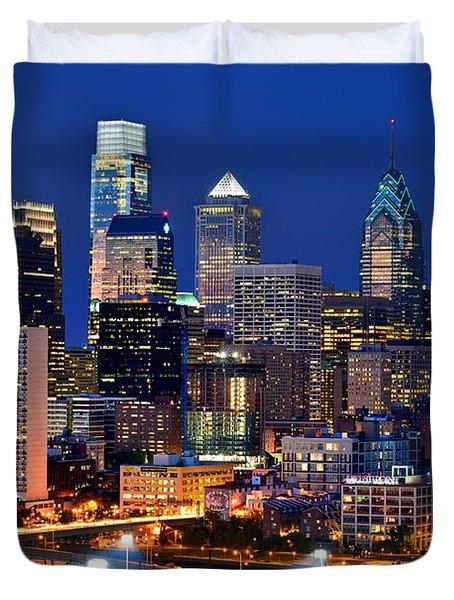 Philadelphia Skyline At Night Duvet Cover by Jon Holiday