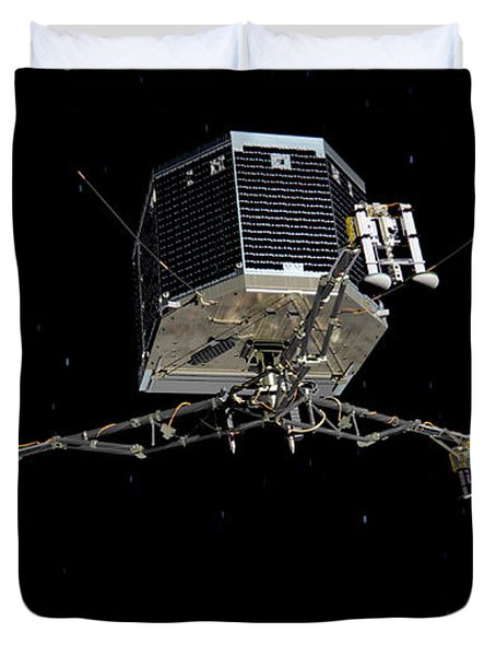 Duvet Cover featuring the photograph Philae Lander Descending To Comet 67pc-g by Science Source