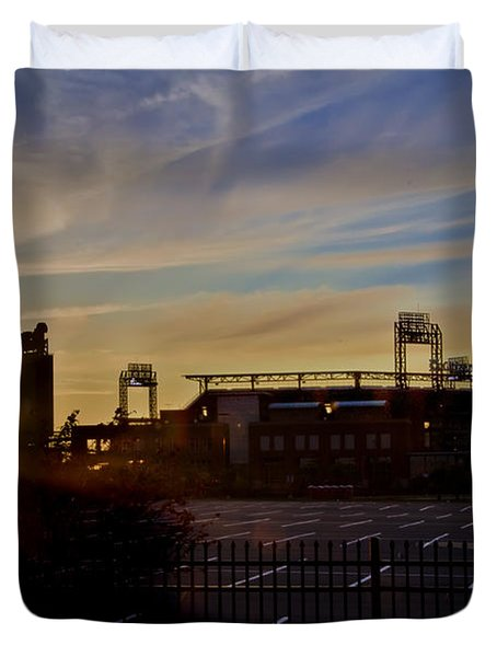 Phillies Citizens Bank Park at Dawn Duvet Cover by Bill Cannon