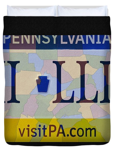 Phillies License Plate Map Duvet Cover by Bill Cannon