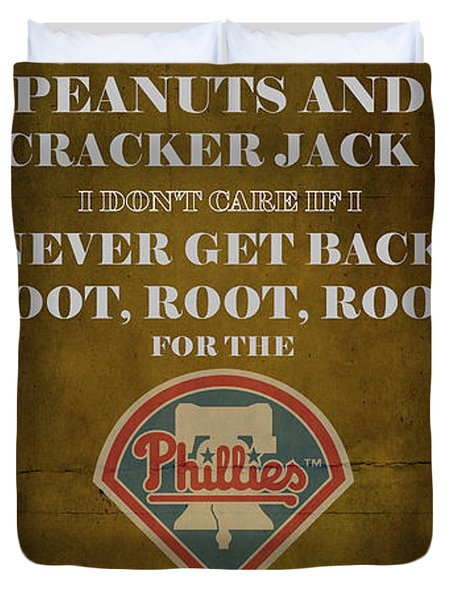 Phillies Peanuts and Cracker Jack  Duvet Cover by Movie Poster Prints
