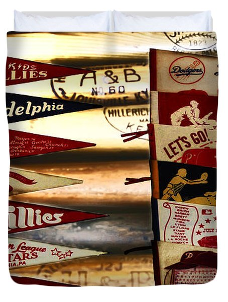 Phillies Pennants Duvet Cover by Bill Cannon
